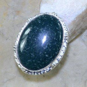 טבעת כסף משובצת אבן ג'ספר ירוק מידה: 5
