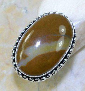 טבעת כסף משובצת אבן ג'ספר מידה: 8