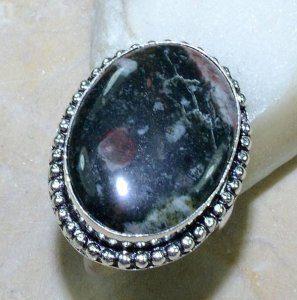 טבעת כסף משובצת אבן ג'ספר צבעוני מידה: 9
