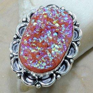 טבעת כסף משובצת אבן טיטניום חום אדמדם מידה: 10