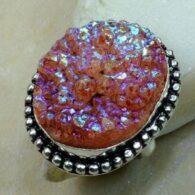 טבעת כסף משובצת אבן טיטניום חום כתמתם מידה: 9