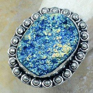 טבעת כסף משובצת אבן טיטניום כחול מידה: 8.25