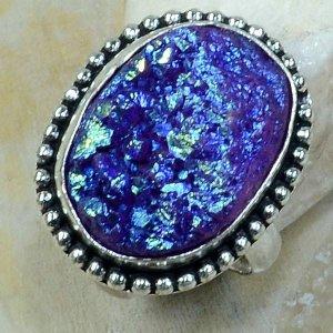 טבעת כסף משובצת אבן טיטניום כחול מידה: 8.75