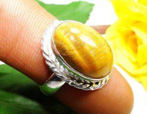 טבעת כסף משובצת אבן טייגר אי זהב מידה: 8.5