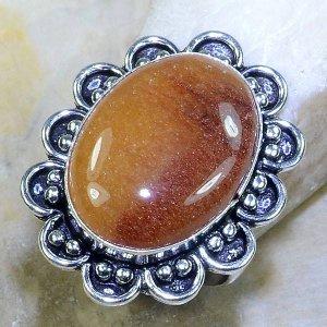טבעת כסף משובצת אבן קלציט דבש מידה: 9