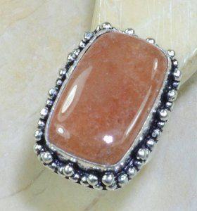 טבעת כסף משובצת אבן קלציט כתום מידה: 7