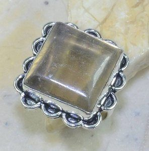טבעת כסף משובצת אבן פלואורייט מידה: 10.75