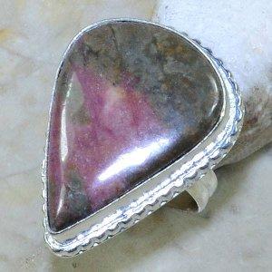 טבעת כסף משובצת אבן רודונייט עיצוב טיפה מידה: 5.5