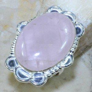 טבעת כסף משובצת אבן רוז קוורץ גדולה מידה: 6