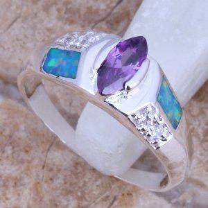 טבעת כסף משובצת אבני אופל כחול ואמטיסט
