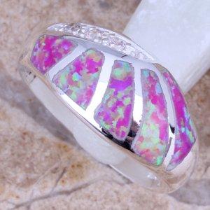 טבעת כסף משובצת אבני אופל ורוד