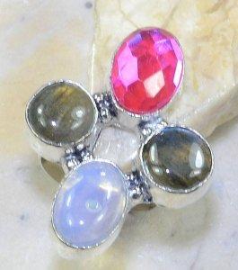טבעת כסף משובצת אבני לברדורייט מונסטון וטופז ריינבאו מידה: 8.75