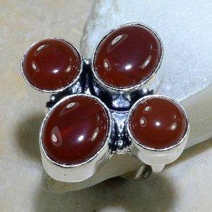 טבעת כסף משובצת אבני קרנליאן מידה: 7.5