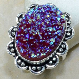 טבעת כסף משובצת אגט טיטניום כחול סגול מידה: 9.5