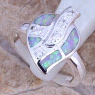 טבעת כסף משובצת אופל חלבי עיצוב עלה