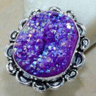 טבעת כסף משובצת באבן אגט טיטניום סגול מידה: 8.25