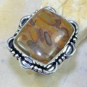 טבעת כסף משובצת באבן ג'ספר אוטומן מידה: 9.25