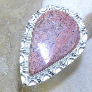 טבעת כסף משובצת באבן ג'ספר ורוד מידה: 6.5