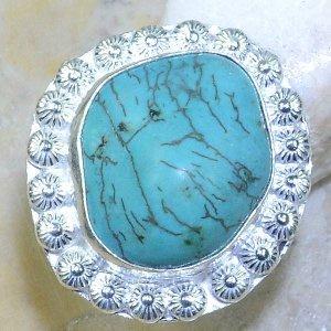 טבעת כסף משובצת באבן טורקיז גלם מידה: 6
