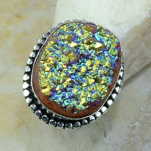טבעת כסף משובצת באבן טיטניום חום כחלחל מידה: 8
