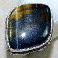 טבעת כסף משובצת באבן טייגר אי זהב מידה: 8