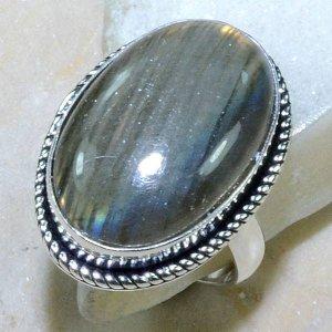 טבעת כסף משובצת באבן לברדורייט מידה : 7.75