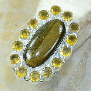 טבעת כסף משובצת טייגר אי זהב ואבני סיטרין מידה: 9.25