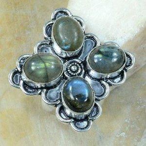 טבעת כסף משובצת 4 אבני לברדורייט מידה: 9.25