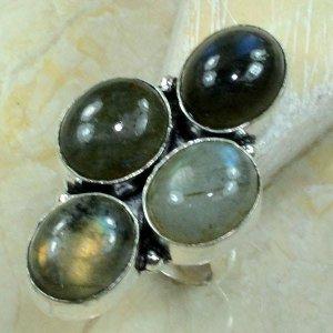 טבעת כסף משובצת 4 אבני לברדורייט מידה: 5