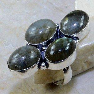 טבעת כסף משובצת 4 אבני לברדורייט מידה: 7