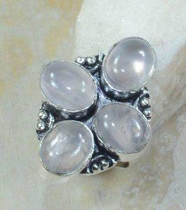 טבעת כסף משובצת 4 אבני רוז קוורץ מידה: 6.5