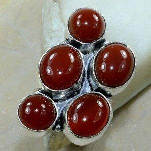 טבעת כסף משובצת 5 אבני קרנליאן מידה: 8
