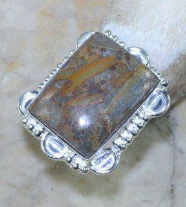 טבעת כסף משובצת אבן ג'ספר אוטומן מידה: 6.5