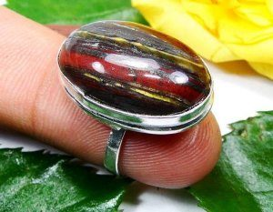 טבעת כסף משובצת אבן טייגר אירון מידה: 4.5