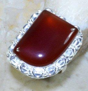טבעת כסף משובצת אבן קרנליאן מידה: 8