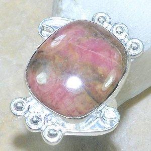 טבעת כסף משובצת אבן רודונייט מידה: 7.25