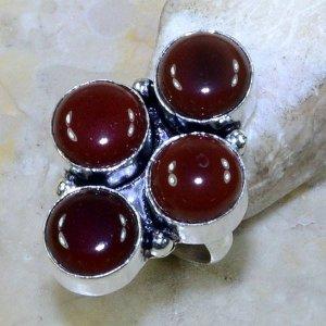 טבעת כסף משובצת אבני קרנליאן מידה: 5.75