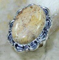 טבעת כסף משובצת באבן ג'ספר מנומר מידה: 9