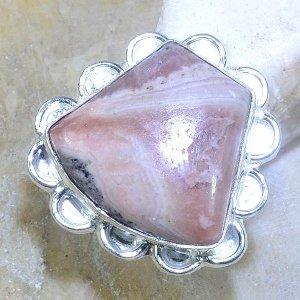 טבעת כסף משובצת באבן רודונייט מידה: 6