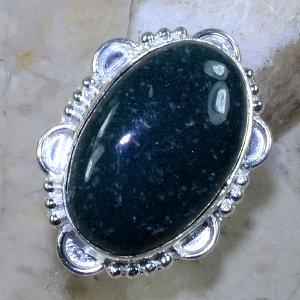 טבעת כסף משובצת ג'ספר ירוק מידה: 6