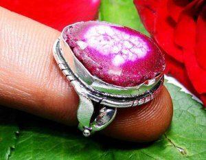 טבעת כסף משובצת מושבת רובי מידה: 6