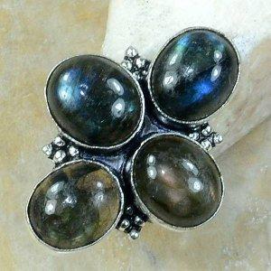 טבעת כסף משובצת 4 אבני לברדורייט מידה: 6