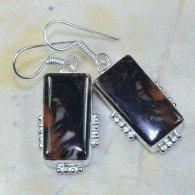 עגילי כסף משובץ אבני ג'ספר חום שחור עיצוב מלבן