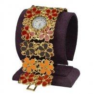 שעון לאישה מתכת דמוי תחרה צבעי אדמה מוזהב