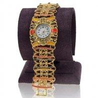 שעון לאישה מתכת דמוי תחרה צבעי אדמה