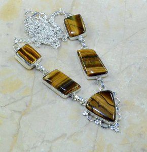 שרשרת כסף בשיבוץ אבני טייגר אי זהב עיצוב מלבני