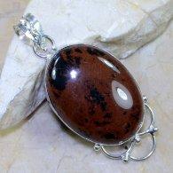 תליון כסף משובץ אבן אובסידיאן מהגוני עיצוב אובלי
