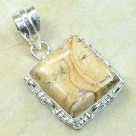 תליון כסף משובץ אבן ג'ספר פיקצ'ר עיצוב מרובע