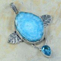 תליון כסף משובץ אבני סולר קוורץ כחול וטופז כחול