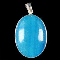 תליון כסף משובץ באבן אגט כחול